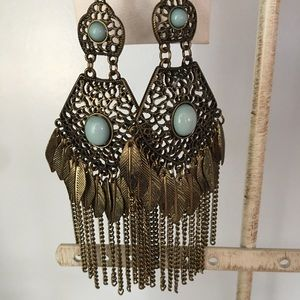 Jewelry - Turquoise Marcasite Silver Feather Drop Earrings